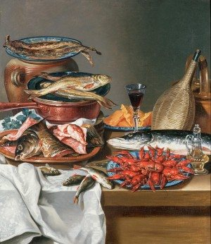 a-still-life-of-a-fish-trout-and-baby-lobsters-anton-friedrich-harms